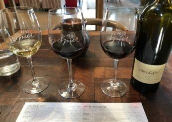 Vinhos na degustação da vinícola Spier, África do Sul